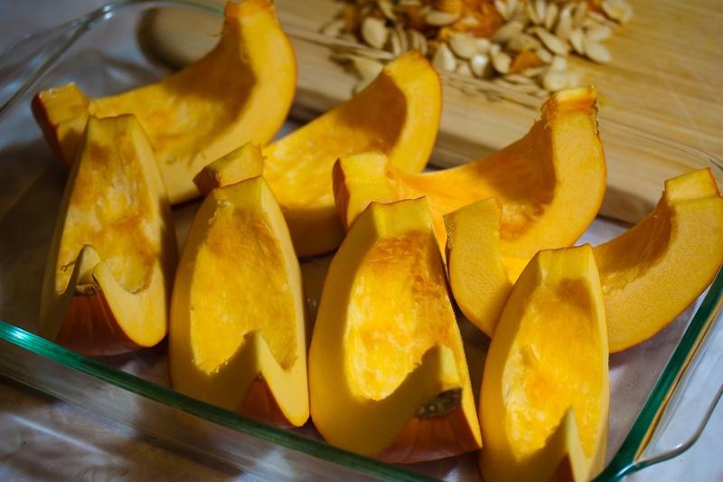 Slice the pumpkin into eighths