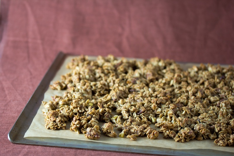 Remove the granola from the oven and let it cool
