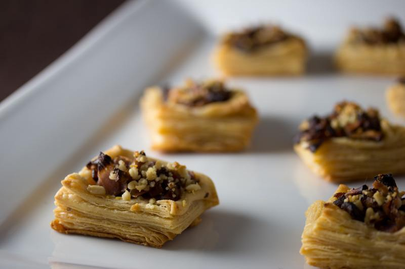 Kimchi Puff Pastry with Shiitake Mushrooms and Pine Nuts