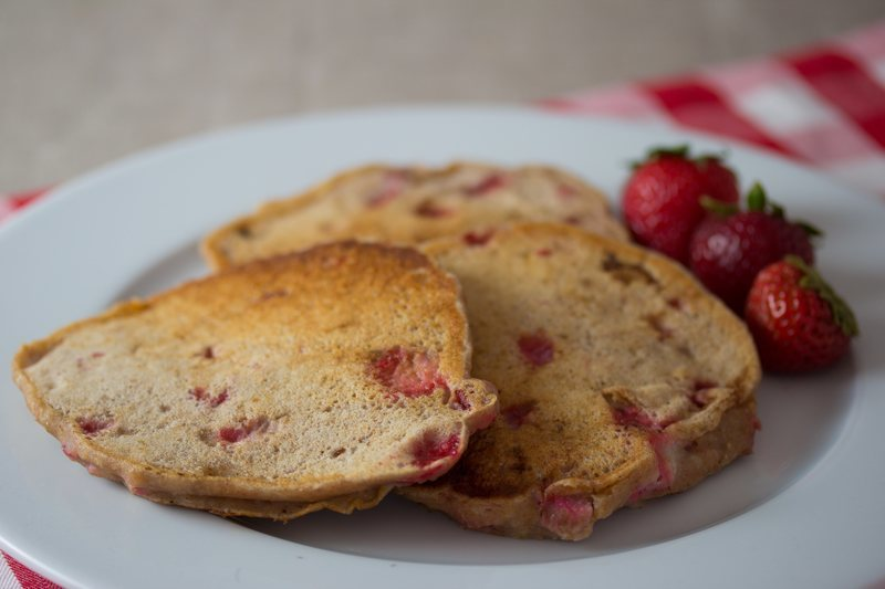 Vegan Strawberry Rhubarb Pancakes