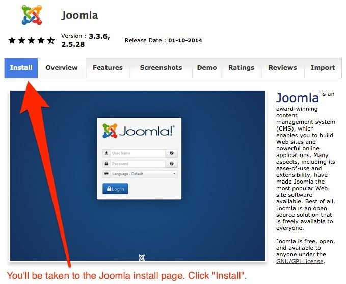 How to start a food blog - Install Joomla
