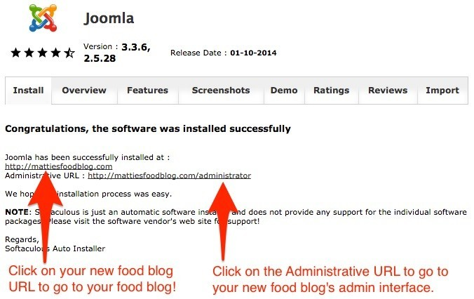 How to start a food blog - note Joomla url and administrator url