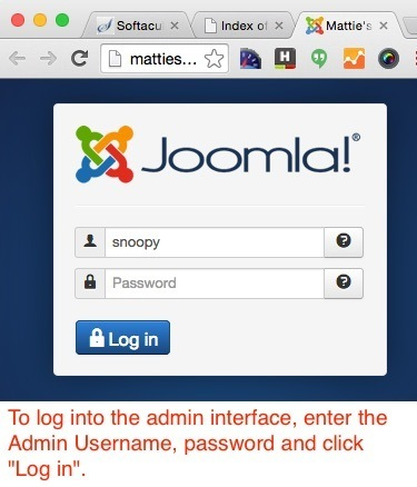 How to start a food blog - Log into Joomla admin interface