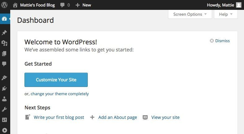 How to start a food blog - WordPress admin interface